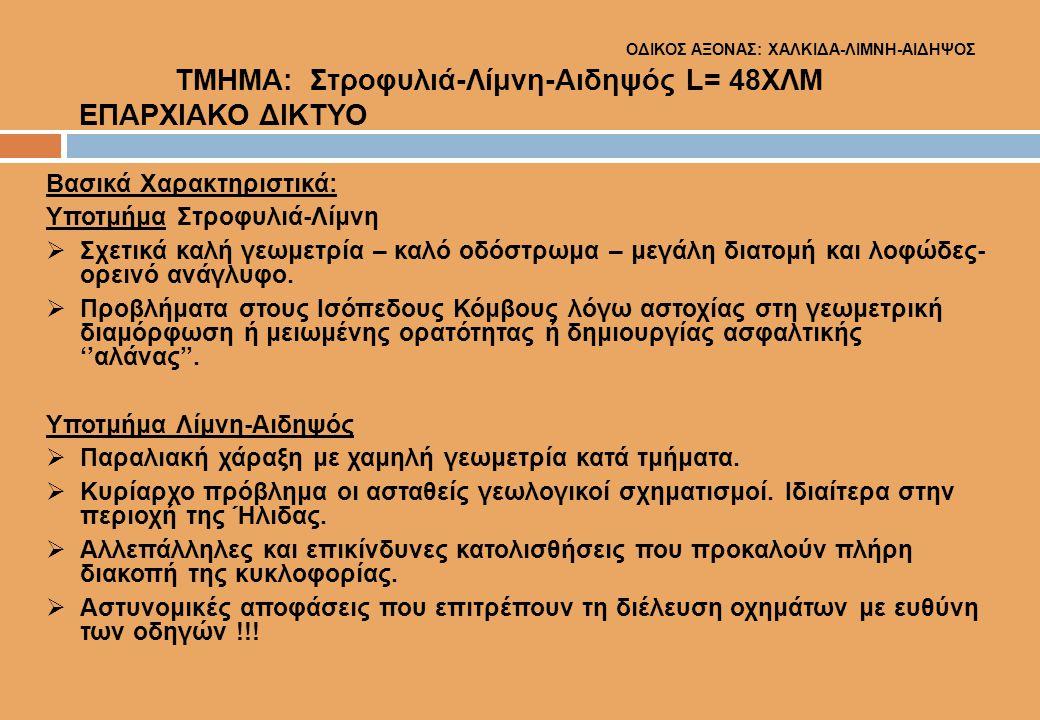 ΟΔΙΚΟΣ ΑΞΟΝΑΣ: ΧΑΛΚΙΔΑ-ΛΙΜΝΗ-ΑΙΔΗΨΟΣ ΤΜΗΜΑ: Στροφυλιά-Λίμνη-Αιδηψός L= 48ΧΛΜ ΕΠΑΡΧΙΑΚΟ ΔΙΚΤΥΟ Βασικά Χαρακτηριστικά: Υποτμήμα Στροφυλιά-Λίμνη  Σχετικ