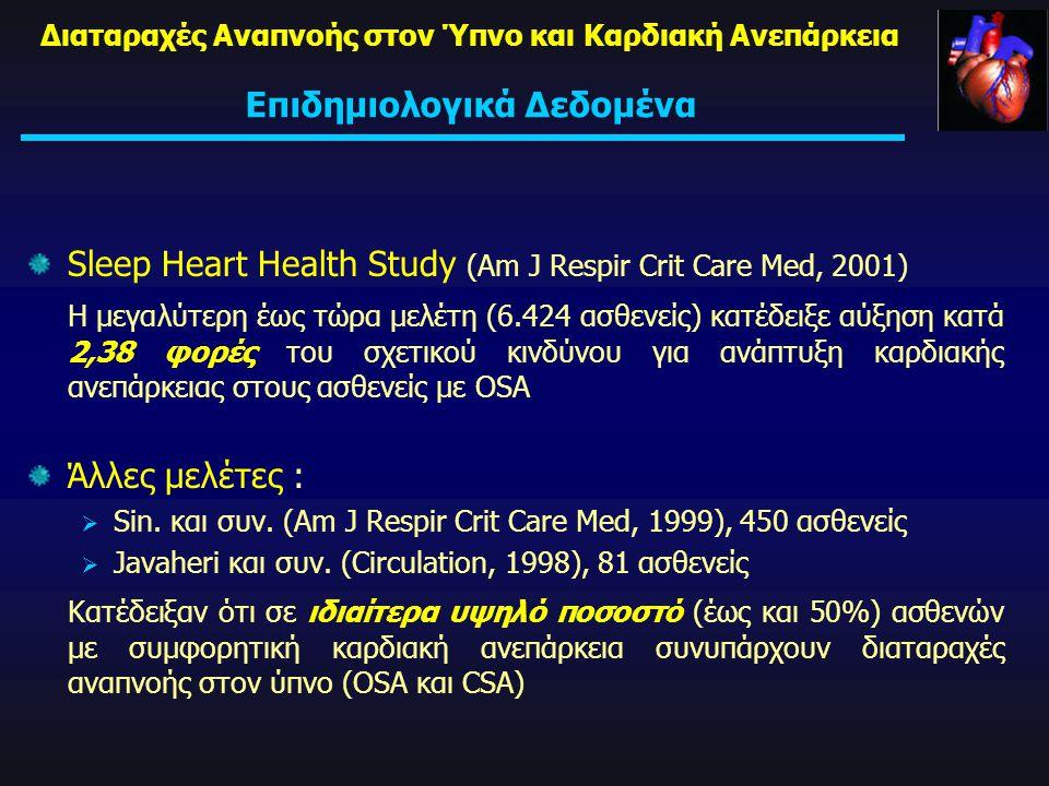 Sleep Heart Health Study (Am J Respir Crit Care Med, 2001) Η μεγαλύτερη έως τώρα μελέτη (6.424 ασθενείς) κατέδειξε αύξηση κατά 2,38 φορές του σχετικού