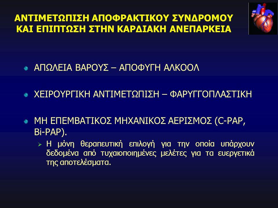 ΑΠΩΛΕΙΑ ΒΑΡΟΥΣ – ΑΠΟΦΥΓΗ ΑΛΚΟΟΛ ΧΕΙΡΟΥΡΓΙΚΗ ΑΝΤΙΜΕΤΩΠΙΣΗ – ΦΑΡΥΓΓΟΠΛΑΣΤΙΚΗ ΜΗ ΕΠΕΜΒΑΤΙΚΟΣ ΜΗΧΑΝΙΚΟΣ ΑΕΡΙΣΜΟΣ (C-PAP, Bi-PAP).  Η μόνη θεραπευτική επι