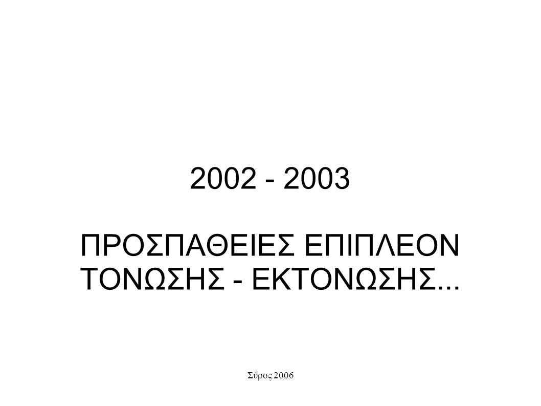 2002 - 2003 ΠΡΟΣΠΑΘΕΙΕΣ ΕΠΙΠΛΕΟΝ ΤΟΝΩΣΗΣ - ΕΚΤΟΝΩΣΗΣ...