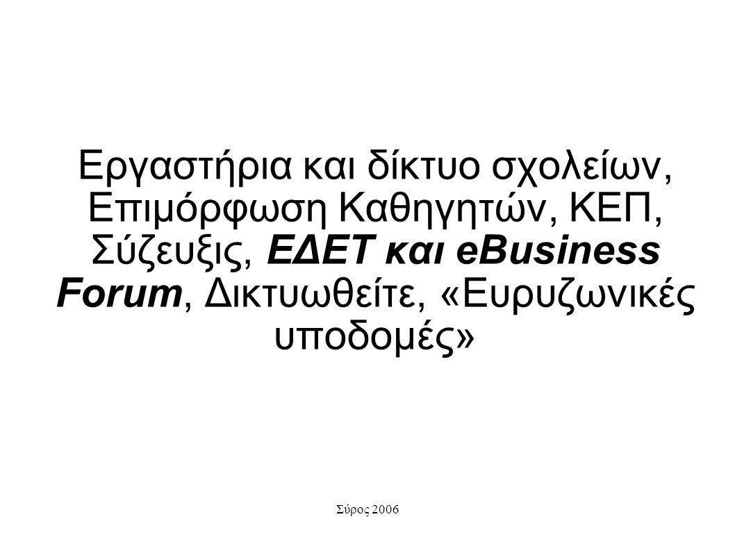 Σύρος 2006 Εργαστήρια και δίκτυο σχολείων, Επιμόρφωση Καθηγητών, ΚΕΠ, Σύζευξις, ΕΔΕΤ και eBusiness Forum, Δικτυωθείτε, «Ευρυζωνικές υποδομές»