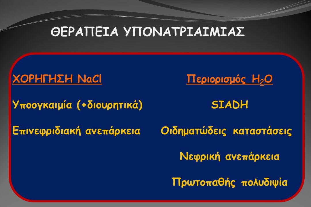 ΘΕΡΑΠΕΙΑ ΥΠΟΝΑΤΡΙΑΙΜΙΑΣ ΧΟΡΗΓΗΣΗ NaClΠεριορισμός H 2 O Υποογκαιμία (+διουρητικά)SIADH Επινεφριδιακή ανεπάρκεια Οιδηματώδεις καταστάσεις Νεφρική ανεπάρ