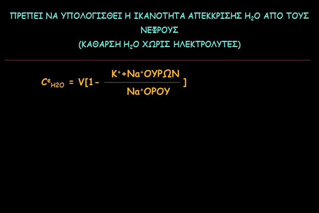 ΠΡΕΠΕΙ ΝΑ ΥΠΟΛΟΓΙΣΘΕΙ Η ΙΚΑΝΟΤΗΤΑ ΑΠΕΚΚΡΙΣΗΣ Η 2 Ο ΑΠO ΤΟΥΣ ΝΕΦΡΟΥΣ (ΚΑΘΑΡΣΗ Η 2 Ο ΧΩΡΙΣ ΗΛΕΚΤΡΟΛΥΤΕΣ) C e H2O = V[1-] K + +Na + ΟΥΡΩΝ Na + ΟΡΟΥ