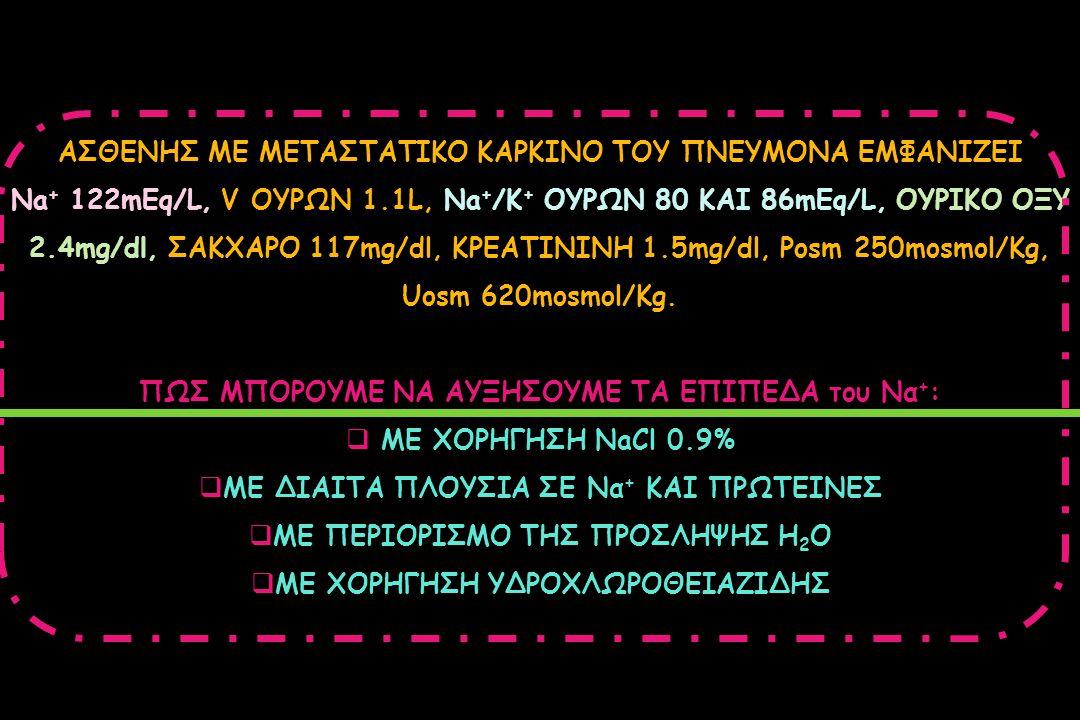 ΑΣΘΕΝΗΣ ΜΕ ΜΕΤΑΣΤΑΤΙΚΟ ΚΑΡΚΙΝΟ ΤΟΥ ΠΝΕΥΜΟΝΑ ΕΜΦΑΝΙΖΕΙ Na + 122mEq/L, V ΟΥΡΩΝ 1.1L, Na + /Κ + ΟΥΡΩΝ 80 KAI 86mEq/L, ΟΥΡΙΚΟ ΟΞΥ 2.4mg/dl, ΣΑΚΧΑΡΟ 117mg/