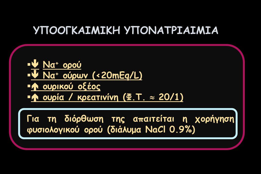 ΥΠΟΟΓΚΑΙΜΙΚΗ ΥΠΟΝΑΤΡΙΑΙΜΙΑ   Να + ορού   Να + ούρων (<20mEq/L)   ουρικού οξέος   ουρία / κρεατινίνη (Φ.Τ.  20/1) Για τη διόρθωση της απαιτείτ