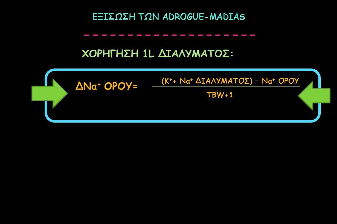 ΕΞΙΣΩΣΗ ΤΩΝ ADROGUE-MADIAS ΔΝα + ΟΡΟΥ= (Κ + + Να + ΔΙΑΛΥΜΑΤΟΣ) – Na + ΟΡΟΥ ΤΒW+1 ΧΟΡΗΓΗΣΗ 1L ΔΙΑΛΥΜΑΤΟΣ: