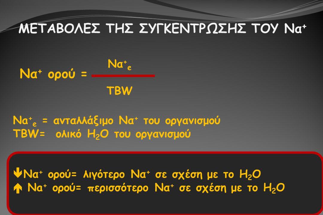 ΜΕΤΑΒΟΛΕΣ ΤΗΣ ΣΥΓΚΕΝΤΡΩΣΗΣ ΤΟΥ Να + Να + ορού = Να + e TBW Na + e = ανταλλάξιμο Να + του οργανισμού TBW= ολικό Η 2 Ο του οργανισμού  Να + ορού= λιγότ