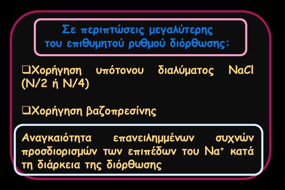 Σε περιπτώσεις μεγαλύτερης του επιθυμητού ρυθμού διόρθωσης:  Χορήγηση υπότονου διαλύματος NaCl (N/2 ή Ν/4)  Χορήγηση βαζοπρεσίνης Αναγκαιότητα επανε