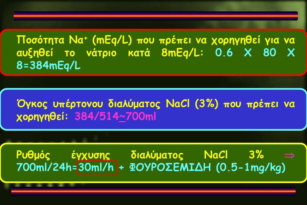 Ποσότητα Να + (mEq/L) που πρέπει να χορηγηθεί για να αυξηθεί το νάτριο κατά 8mEq/L: 0.6 X 80 X 8=384mEq/L Όγκος υπέρτονου διαλύματος NaCl (3%) που πρέ