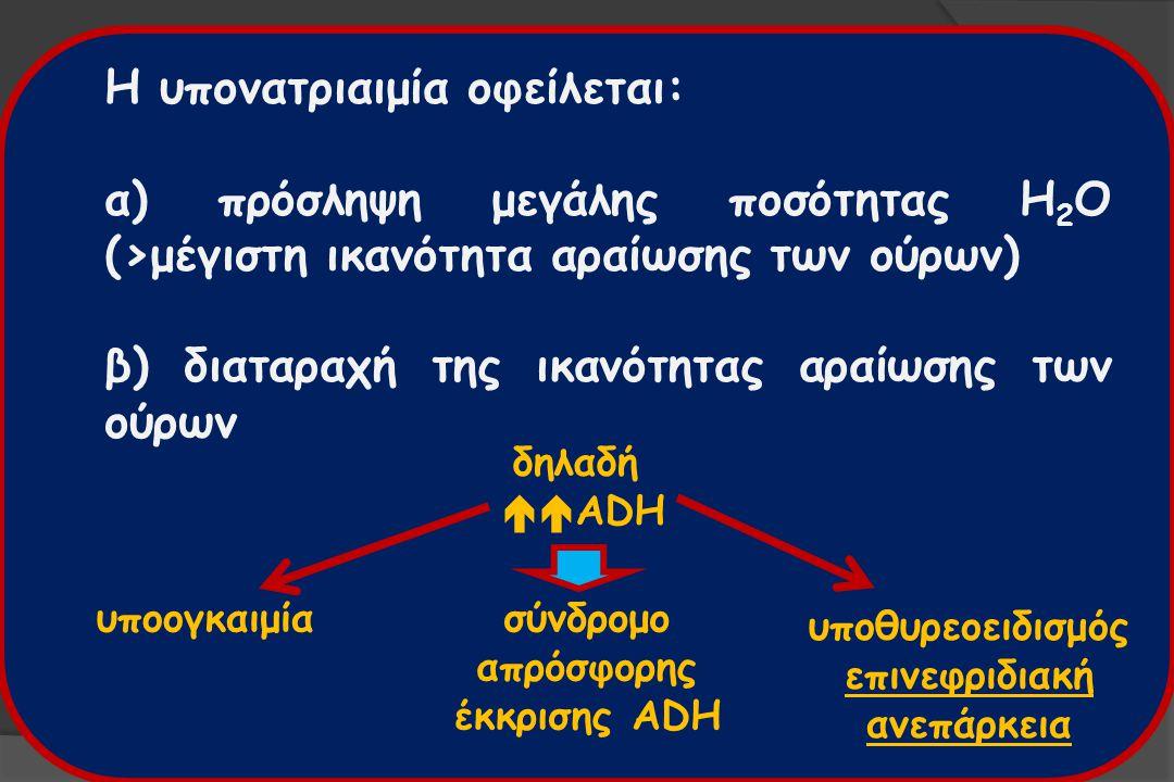Η υπονατριαιμία οφείλεται: α) πρόσληψη μεγάλης ποσότητας H 2 O (>μέγιστη ικανότητα αραίωσης των ούρων) β) διαταραχή της ικανότητας αραίωσης των ούρων