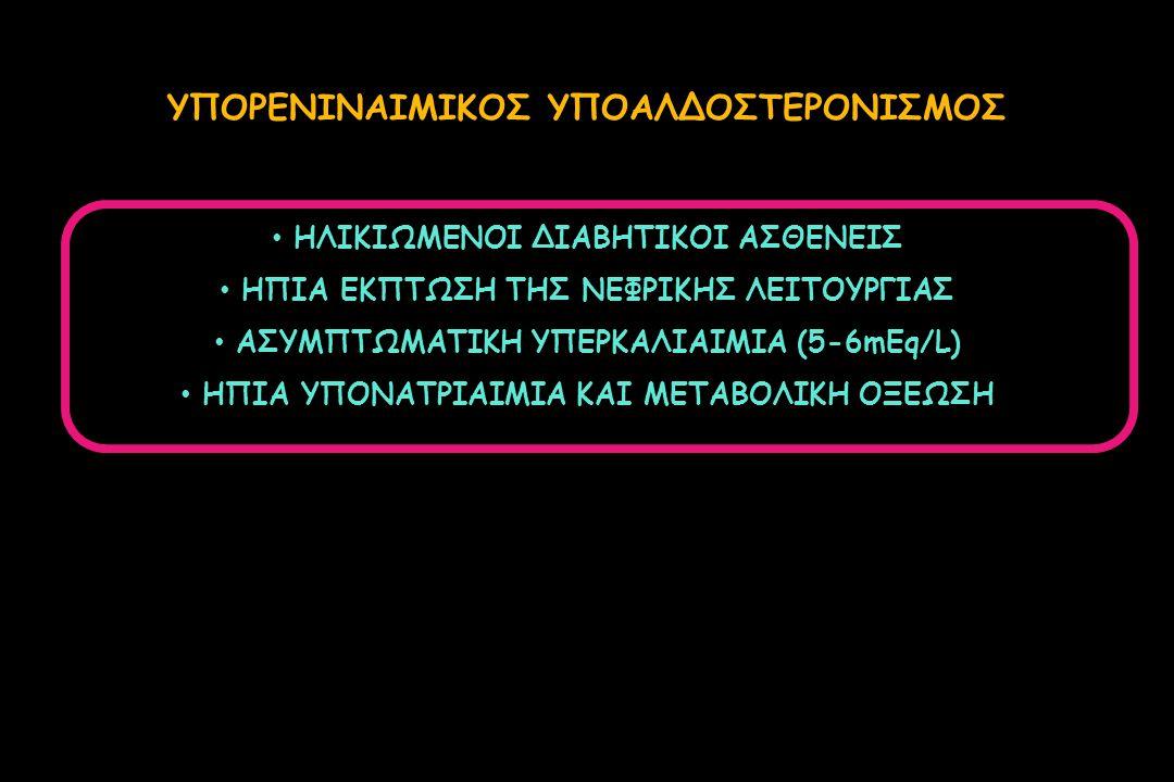ΗΛΙΚΙΩΜΕΝΟΙ ΔΙΑΒΗΤΙΚΟΙ ΑΣΘΕΝΕΙΣ ΗΠΙΑ ΕΚΠΤΩΣΗ ΤΗΣ ΝΕΦΡΙΚΗΣ ΛΕΙΤΟΥΡΓΙΑΣ ΑΣΥΜΠΤΩΜΑΤΙΚΗ ΥΠΕΡΚΑΛΙΑΙΜΙΑ (5-6mEq/L) ΗΠΙΑ ΥΠΟΝΑΤΡΙΑΙΜΙΑ ΚΑΙ ΜΕΤΑΒΟΛΙΚΗ ΟΞΕΩΣΗ