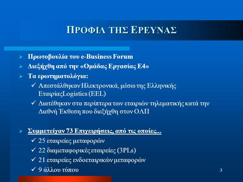 3 Π ΡΟΦΙΛ ΤΗΣ Ε ΡΕΥΝΑΣ  Πρωτοβουλία του e-Business Forum  Διεξήχθη από την «Ομάδας Εργασίας Ε4»  Τα ερωτηματολόγια: Απεστάλθηκαν Ηλεκτρονικά, μέσω της Ελληνικής ΕταιρίαςLogistics (ΕΕL) Διατέθηκαν στα περίπτερα των εταιριών τηλεματικής κατά την Διεθνή Έκθεση που διεξήχθη στον ΟΛΠ  Συμμετείχαν 73 Επιχειρήσεις, από τις οποίες...