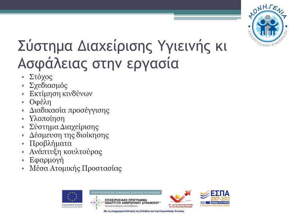 Σύστημα Διαχείρισης Υγιεινής κι Ασφάλειας στην εργασία Στόχος Σχεδιασμός Εκτίμηση κινδύνων Οφέλη Διαδικασία προσέγγισης Υλοποίηση Σύστημα Διαχείρισης