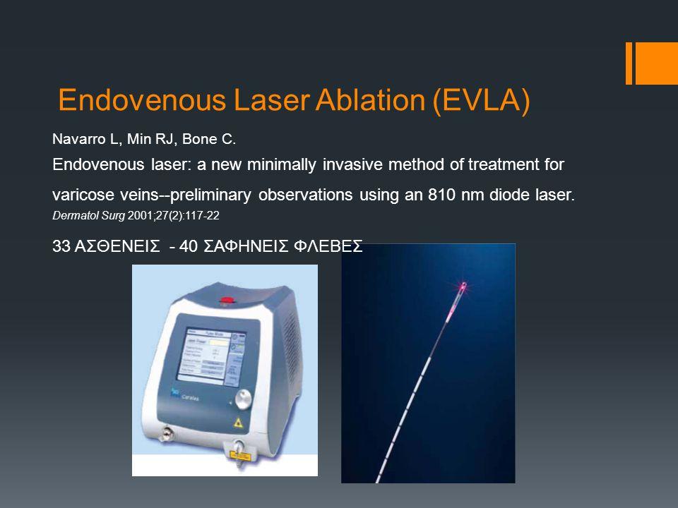 Endovenous Laser Ablation (EVLA) Navarro L, Min RJ, Bone C.