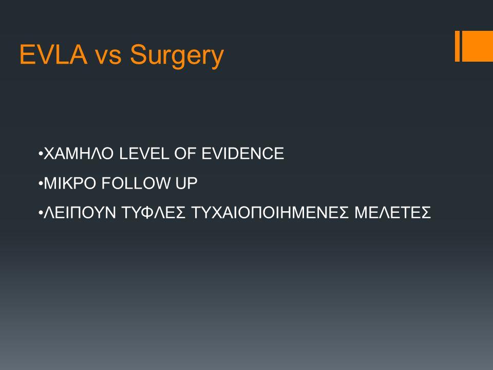EVLA vs Surgery ΧΑΜΗΛΟ LEVEL OF EVIDENCE ΜΙΚΡΟ FOLLOW UP ΛΕΙΠΟΥΝ ΤΥΦΛΕΣ ΤΥΧΑΙΟΠΟΙΗΜΕΝΕΣ ΜΕΛΕΤΕΣ