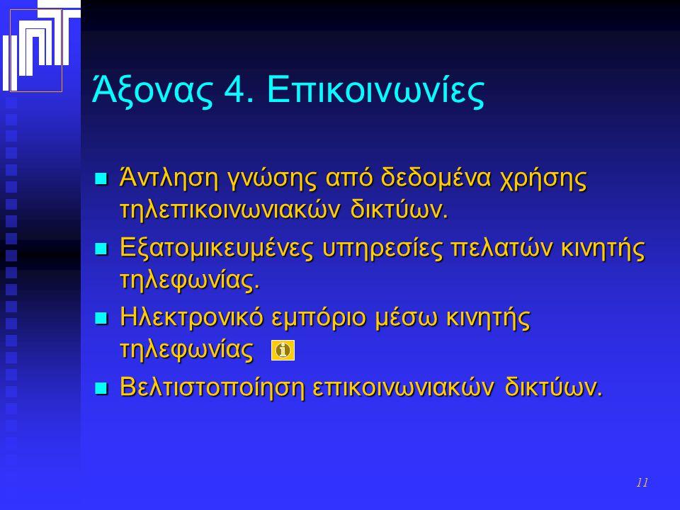 11 Άξονας 4. Επικοινωνίες Άντληση γνώσης από δεδομένα χρήσης τηλεπικοινωνιακών δικτύων. Άντληση γνώσης από δεδομένα χρήσης τηλεπικοινωνιακών δικτύων.