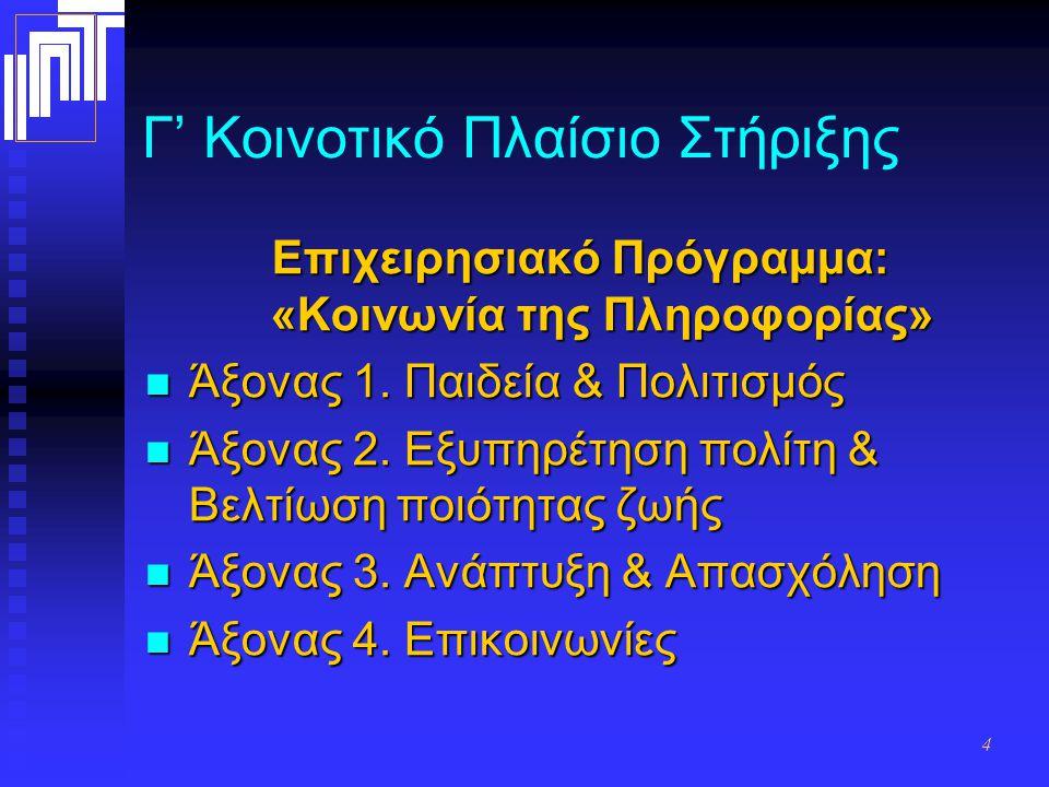 4 Γ' Κοινοτικό Πλαίσιο Στήριξης Επιχειρησιακό Πρόγραμμα: «Κοινωνία της Πληροφορίας» Άξονας 1.