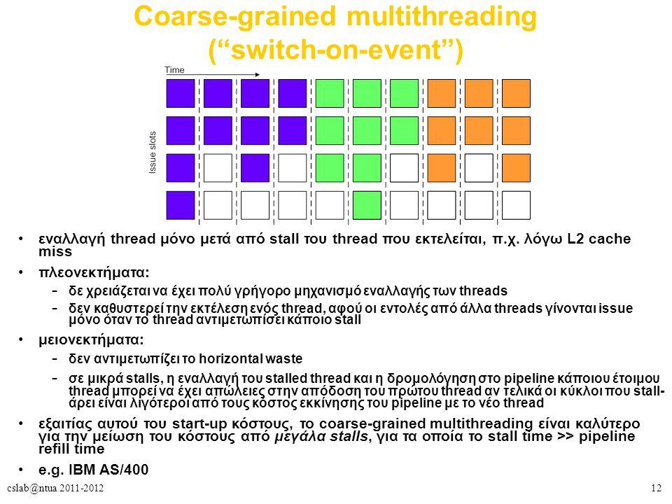 12cslab@ntua 2011-2012 Coarse-grained multithreading ( switch-on-event ) εναλλαγή thread μόνο μετά από stall του thread που εκτελείται, π.χ.