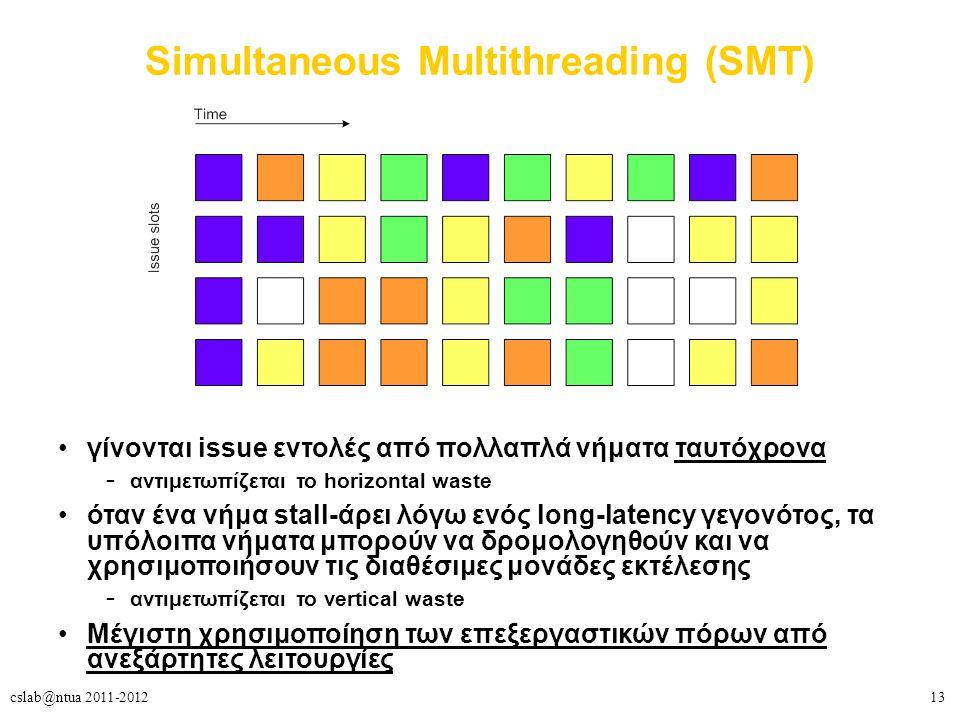 13cslab@ntua 2011-2012 Simultaneous Multithreading (SMT) γίνονται issue εντολές από πολλαπλά νήματα ταυτόχρονα – αντιμετωπίζεται το horizontal waste όταν ένα νήμα stall-άρει λόγω ενός long-latency γεγονότος, τα υπόλοιπα νήματα μπορούν να δρομολογηθούν και να χρησιμοποιήσουν τις διαθέσιμες μονάδες εκτέλεσης – αντιμετωπίζεται το vertical waste Μέγιστη χρησιμοποίηση των επεξεργαστικών πόρων από ανεξάρτητες λειτουργίες