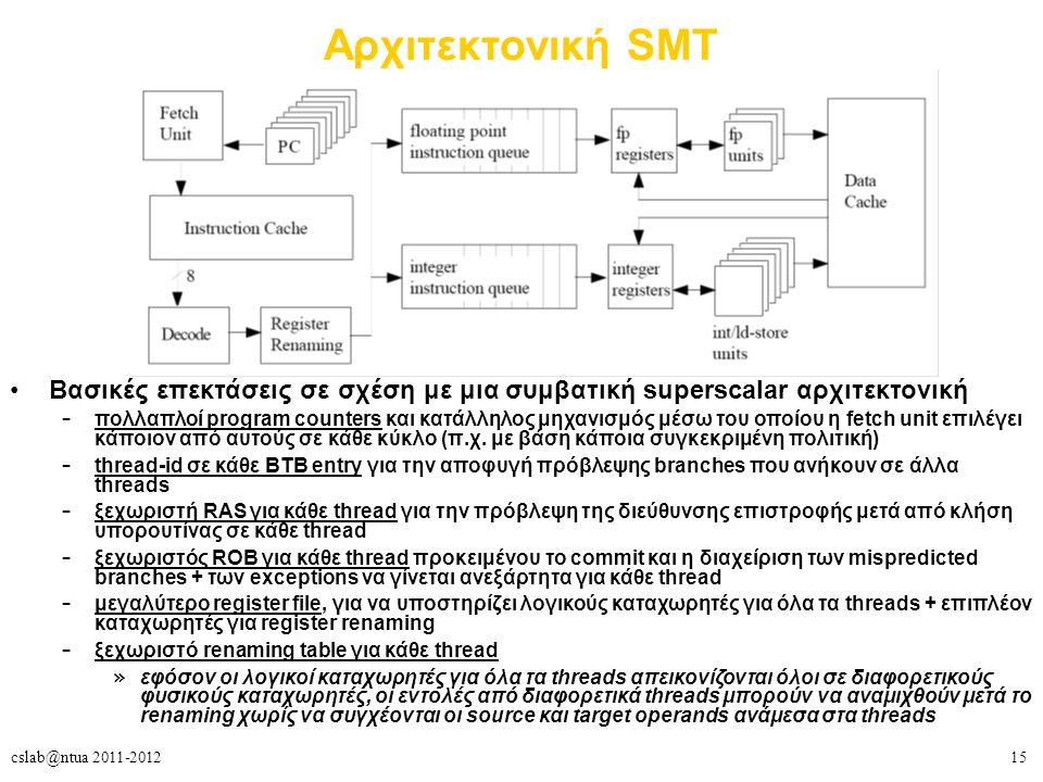 15cslab@ntua 2011-2012 Αρχιτεκτονική SMT Βασικές επεκτάσεις σε σχέση με μια συμβατική superscalar αρχιτεκτονική – πολλαπλοί program counters και κατάλληλος μηχανισμός μέσω του οποίου η fetch unit επιλέγει κάποιον από αυτούς σε κάθε κύκλο (π.χ.
