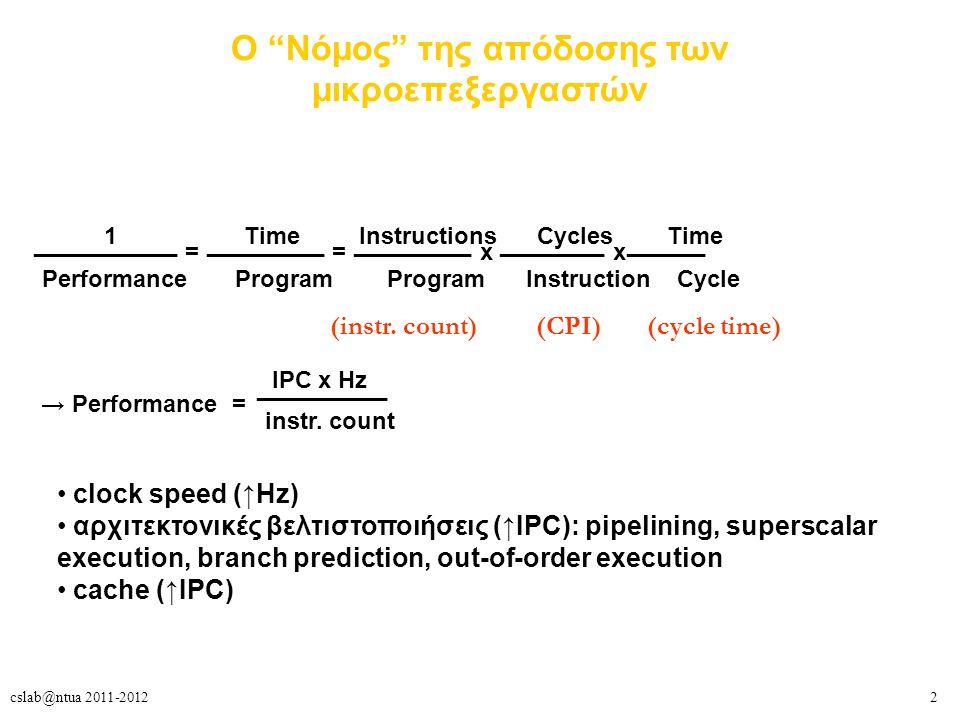 3cslab@ntua 2011-2012 Γιατί πολυνηματισμός; o ILP εκμεταλλεύεται παράλληλες λειτουργίες, συνήθως μη οριζόμενες από τον προγραμματιστή – σε μια «ευθεία» ακολουθία εντολών (χωρίς branches) – ανάμεσα σε διαδοχικές επαναλήψεις ενός loop δύσκολο το να εξάγουμε ολοένα και περισσότερο ILP από ένα και μόνο νήμα εκτέλεσης – εγγενώς χαμηλός ILP σε πολλές εφαρμογές → ανεκμετάλλευτες πολλές από τις μονάδες ενός superscalar επεξεργαστή συχνότητα ρολογιού: φυσικά εμπόδια στη συνεχόμενη αύξησή της – μεγάλη έκλυση θερμότητας, μεγάλη κατανάλωση ισχύος, διαρροή ρεύματος πρέπει να βρούμε άλλον τρόπο πέρα από τον ILP + συχνότητα ρολογιού για να βελτιώσουμε την απόδοση