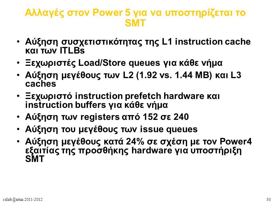 30cslab@ntua 2011-2012 Αλλαγές στον Power 5 για να υποστηρίζεται το SMT Aύξηση συσχετιστικότητας της L1 instruction cache και των ITLBs Ξεχωριστές Load/Store queues για κάθε νήμα Αύξηση μεγέθους των L2 (1.92 vs.