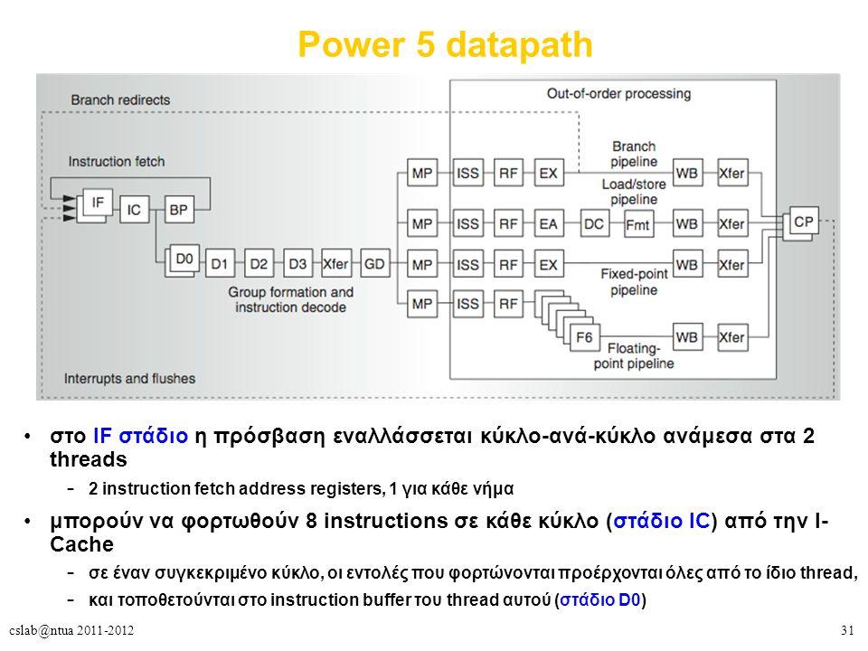 31cslab@ntua 2011-2012 Power 5 datapath στο IF στάδιο η πρόσβαση εναλλάσσεται κύκλο-ανά-κύκλο ανάμεσα στα 2 threads – 2 instruction fetch address registers, 1 για κάθε νήμα μπορούν να φορτωθούν 8 instructions σε κάθε κύκλο (στάδιο IC) από την I- Cache – σε έναν συγκεκριμένο κύκλο, οι εντολές που φορτώνονται προέρχονται όλες από το ίδιο thread, – και τοποθετούνται στο instruction buffer του thread αυτού (στάδιο D0)