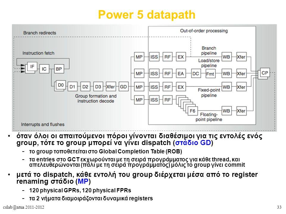 33cslab@ntua 2011-2012 Power 5 datapath όταν όλοι οι απαιτούμενοι πόροι γίνονται διαθέσιμοι για τις εντολές ενός group, τότε το group μπορεί να γίνει dispatch (στάδιο GD) – το group τοποθετείται στο Global Completion Table (ROB) – τα entries στο GCT εκχωρούνται με τη σειρά προγράμματος για κάθε thread, και απελευθερώνονται (πάλι με τη σειρά προγράμματος) μόλις το group γίνει commit μετά το dispatch, κάθε εντολή του group διέρχεται μέσα από το register renaming στάδιο (MP) – 120 physical GPRs, 120 physical FPRs – τα 2 νήματα διαμοιράζονται δυναμικά registers