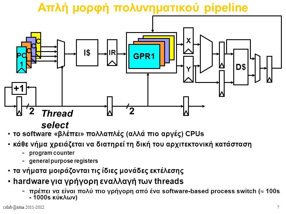 7cslab@ntua 2011-2012 Απλή μορφή πολυνηματικού pipeline το software «βλέπει» πολλαπλές (αλλά πιο αργές) CPUs κάθε νήμα χρειάζεται να διατηρεί τη δική του αρχιτεκτονική κατάσταση – program counter – general purpose registers τα νήματα μοιράζονται τις ίδιες μονάδες εκτέλεσης hardware για γρήγορη εναλλαγή των threads – πρέπει να είναι πολύ πιο γρήγορη από ένα software-based process switch (  100s - 1000s κύκλων) +1 2 Thread select PC 1 PC 1 PC 1 PC 1 I$ IR GPR1 X Y 2 D$