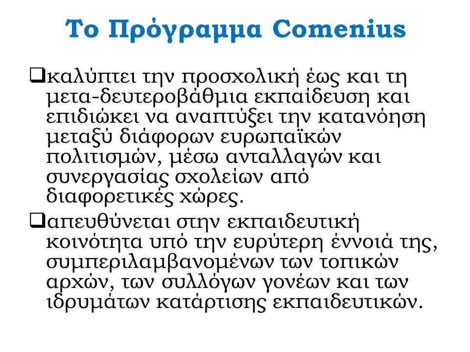 Το Πρόγραμμα Comenius  καλύπτει την προσχολική έως και τη μετα-δευτεροβάθμια εκπαίδευση και επιδιώκει να αναπτύξει την κατανόηση μεταξύ διάφορων ευρω