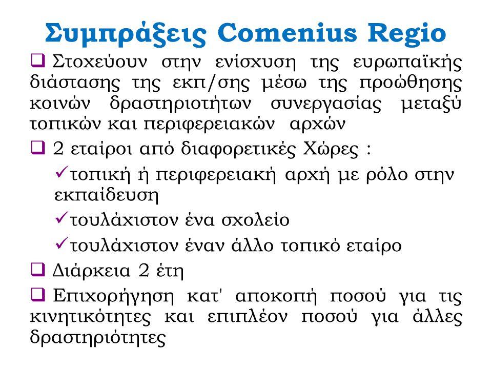 Συμπράξεις Comenius Regio  Στοχεύουν στην ενίσχυση της ευρωπαϊκής διάστασης της εκπ/σης μέσω της προώθησης κοινών δραστηριοτήτων συνεργασίας μεταξύ τοπικών και περιφερειακών αρχών  2 εταίροι από διαφορετικές Χώρες : τοπική ή περιφερειακή αρχή με ρόλο στην εκπαίδευση τουλάχιστον ένα σχολείο τουλάχιστον έναν άλλο τοπικό εταίρο  Διάρκεια 2 έτη  Επιχορήγηση κατ αποκοπή ποσού για τις κινητικότητες και επιπλέον ποσού για άλλες δραστηριότητες