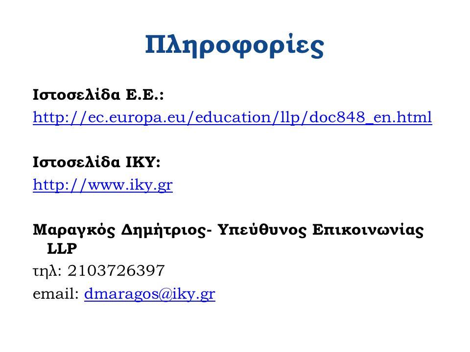 Πληροφορίες Ιστοσελίδα Ε.Ε.: http://ec.europa.eu/education/llp/doc848_en.html Ιστοσελίδα ΙΚΥ: http://www.iky.gr Μαραγκός Δημήτριος- Υπεύθυνος Επικοινωνίας LLP τηλ: 2103726397 email: dmaragos@iky.grdmaragos@iky.gr