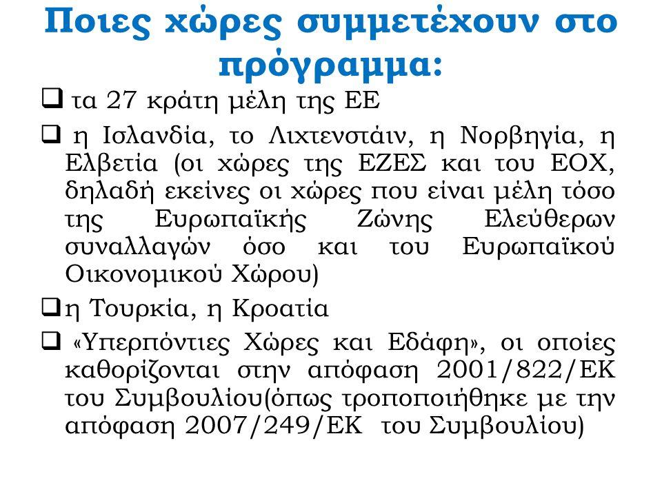 Ποιες χώρες συμμετέχουν στο πρόγραμμα:  τα 27 κράτη μέλη της ΕΕ  η Ισλανδία, το Λιχτενστάιν, η Νορβηγία, η Ελβετία (οι χώρες της ΕΖΕΣ και του ΕΟΧ, δηλαδή εκείνες οι χώρες που είναι μέλη τόσο της Ευρωπαϊκής Ζώνης Ελεύθερων συναλλαγών όσο και του Ευρωπαϊκού Οικονομικού Χώρου)  η Τουρκία, η Κροατία  «Υπερπόντιες Χώρες και Εδάφη», οι οποίες καθορίζονται στην απόφαση 2001/822/EΚ του Συμβουλίου(όπως τροποποιήθηκε με την απόφαση 2007/249/ΕΚ του Συμβουλίου)