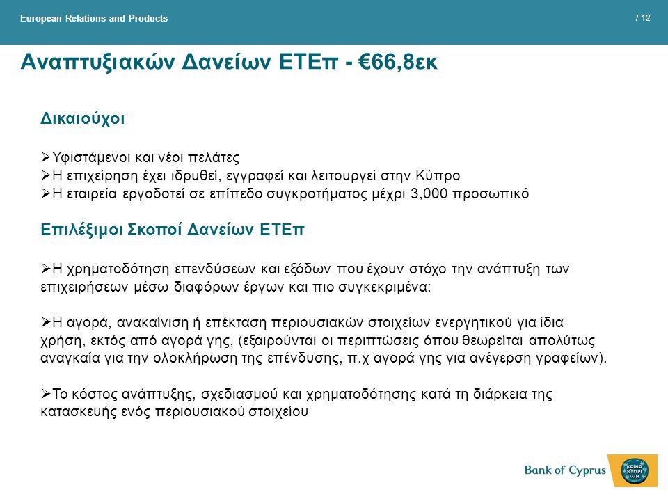 European Relations and Products / 12 Αναπτυξιακών Δανείων ΕΤΕπ - €66,8εκ Δικαιούχοι  Υφιστάμενοι και νέοι πελάτες  Η επιχείρηση έχει ιδρυθεί, εγγραφεί και λειτουργεί στην Κύπρο  Η εταιρεία εργοδοτεί σε επίπεδο συγκροτήματος μέχρι 3,000 προσωπικό Επιλέξιμοι Σκοποί Δανείων ΕΤΕπ  Η χρηματοδότηση επενδύσεων και εξόδων που έχουν στόχο την ανάπτυξη των επιχειρήσεων μέσω διαφόρων έργων και πιο συγκεκριμένα:  Η αγορά, ανακαίνιση ή επέκταση περιουσιακών στοιχείων ενεργητικού για ίδια χρήση, εκτός από αγορά γης, (εξαιρούνται οι περιπτώσεις όπου θεωρείται απολύτως αναγκαία για την ολοκλήρωση της επένδυσης, π.χ αγορά γης για ανέγερση γραφείων).