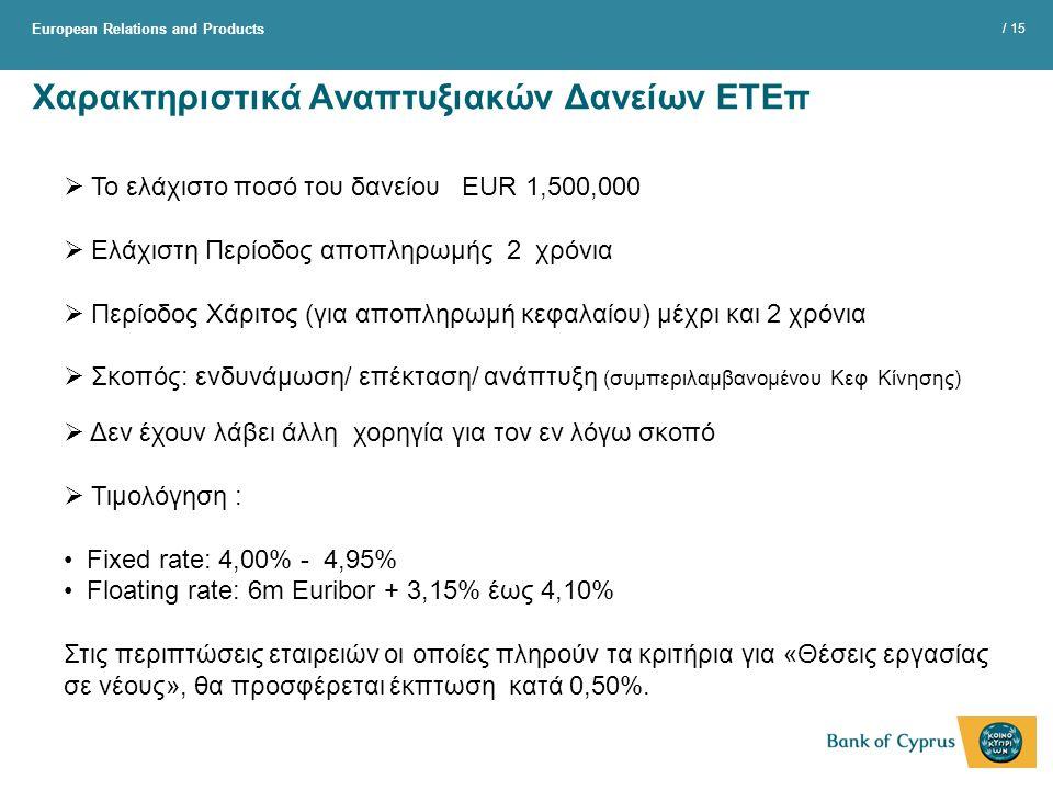 European Relations and Products / 15 Χαρακτηριστικά Αναπτυξιακών Δανείων ΕΤΕπ  Το ελάχιστο ποσό του δανείου EUR 1,500,000  Ελάχιστη Περίοδος αποπληρωμής 2 χρόνια  Περίοδος Χάριτος (για αποπληρωμή κεφαλαίου) μέχρι και 2 χρόνια  Σκοπός: ενδυνάμωση/ επέκταση/ ανάπτυξη (συμπεριλαμβανομένου Κεφ Κίνησης)  Δεν έχουν λάβει άλλη χορηγία για τον εν λόγω σκοπό  Τιμολόγηση : Fixed rate: 4,00% - 4,95% Floating rate: 6m Euribor + 3,15% έως 4,10% Στις περιπτώσεις εταιρειών οι οποίες πληρούν τα κριτήρια για «Θέσεις εργασίας σε νέους», θα προσφέρεται έκπτωση κατά 0,50%.