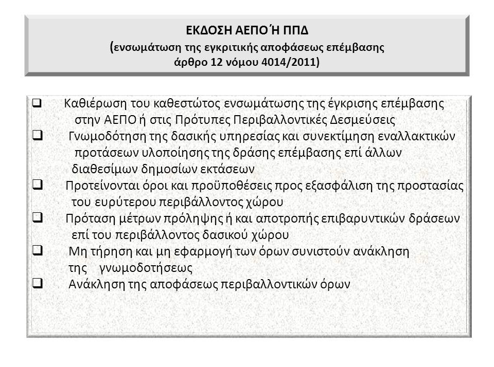 ΕΚΔΟΣΗ ΑΕΠΟ Ή ΠΠΔ ( ενσωμάτωση της εγκριτικής αποφάσεως επέμβασης άρθρο 12 νόμου 4014/2011)  Καθιέρωση του καθεστώτος ενσωμάτωσης της έγκρισης επέμβα