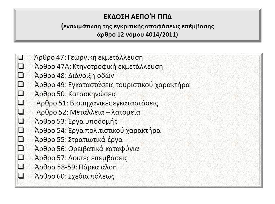 ΕΚΔΟΣΗ ΑΕΠΟ Ή ΠΠΔ ( ενσωμάτωση της εγκριτικής αποφάσεως επέμβασης άρθρο 12 νόμου 4014/2011)  Άρθρο 47: Γεωργική εκμετάλλευση  Άρθρο 47Α: Κτηνοτροφικ