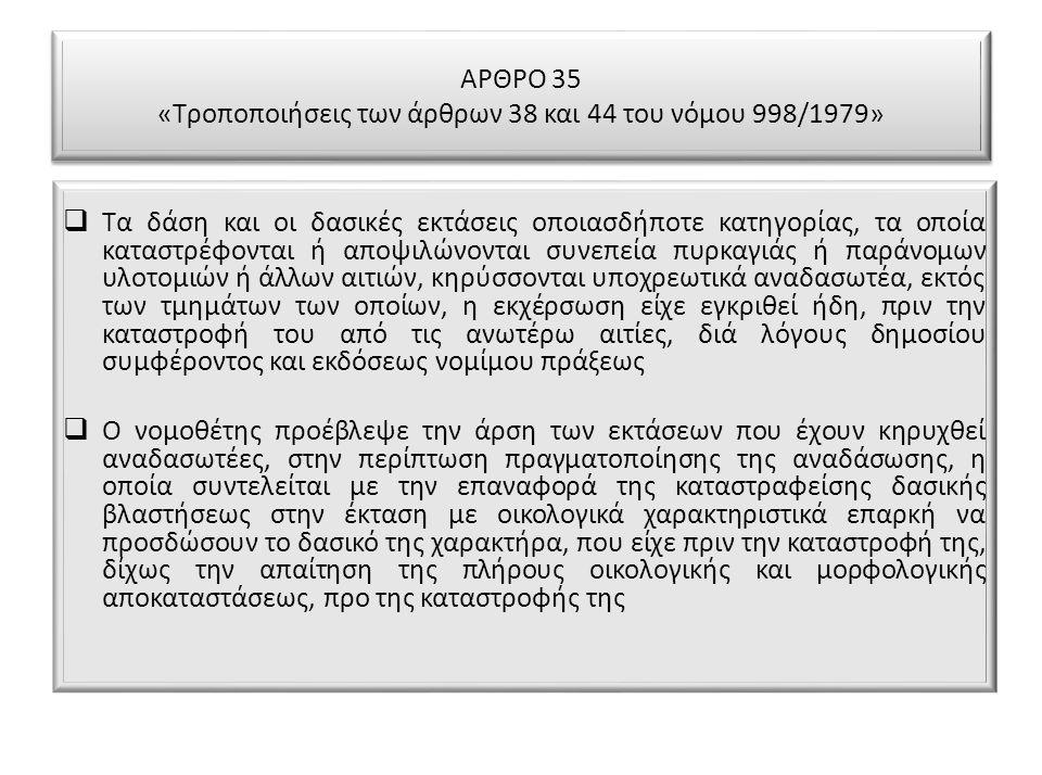 ΑΡΘΡΟ 35 «Τροποποιήσεις των άρθρων 38 και 44 του νόμου 998/1979»  Τα δάση και οι δασικές εκτάσεις οποιασδήποτε κατηγορίας, τα οποία καταστρέφονται ή