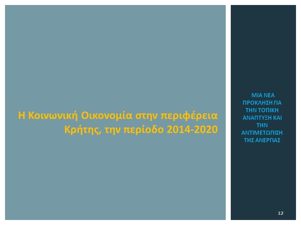 ΜΙΑ ΝΕΑ ΠΡΟΚΛΗΣΗ ΓΙΑ ΤΗΝ ΤΟΠΙΚΗ ΑΝΑΠΤΥΞΗ ΚΑΙ ΤΗΝ ΑΝΤΙΜΕΤΩΠΙΣΗ ΤΗΣ ΑΝΕΡΓΙΑΣ 12 Η Κοινωνική Οικονομία στην περιφέρεια Κρήτης, την περίοδο 2014-2020