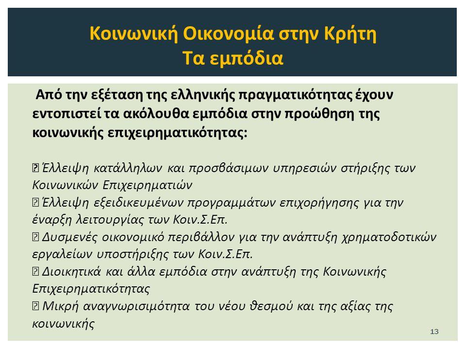 Από την εξέταση της ελληνικής πραγματικότητας έχουν εντοπιστεί τα ακόλουθα εμπόδια στην προώθηση της κοινωνικής επιχειρηματικότητας:  Έλλειψη κατάλληλων και προσβάσιμων υπηρεσιών στήριξης των Κοινωνικών Επιχειρηματιών  Έλλειψη εξειδικευμένων προγραμμάτων επιχορήγησης για την έναρξη λειτουργίας των Κοιν.Σ.Eπ.