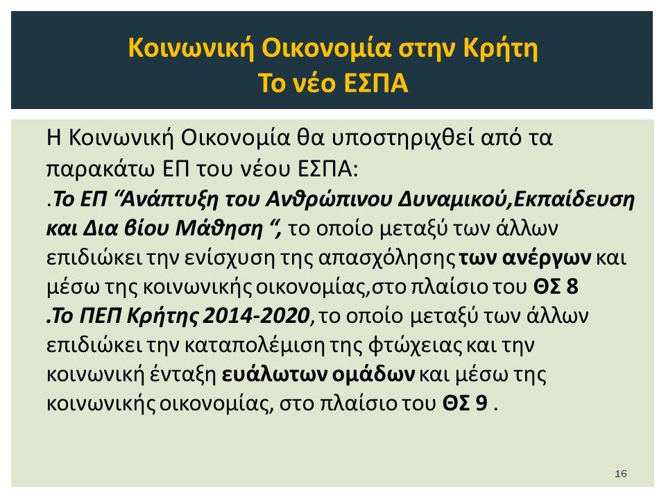Η Κοινωνική Οικονομία θα υποστηριχθεί από τα παρακάτω ΕΠ του νέου ΕΣΠΑ:.Το ΕΠ Ανάπτυξη του Ανθρώπινου Δυναμικού,Εκπαίδευση και Δια βίου Μάθηση , το οποίο μεταξύ των άλλων επιδιώκει την ενίσχυση της απασχόλησης των ανέργων και μέσω της κοινωνικής οικονομίας,στο πλαίσιο του ΘΣ 8.Το ΠΕΠ Κρήτης 2014-2020, το οποίο μεταξύ των άλλων επιδιώκει την καταπολέμιση της φτώχειας και την κοινωνική ένταξη ευάλωτων ομάδων και μέσω της κοινωνικής οικονομίας, στο πλαίσιο του ΘΣ 9.