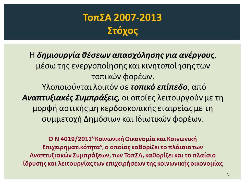 ΤοπΣΑ 2007-2013 Ωφελούμενοι Κάθε τοπική δράση στοχεύει σε συγκεκριμένες κατηγορίες ανέργων: Άνεργοι, εγγεγραμμένοι στα Μητρώα Ανεργίας του ΟΑΕΔ.