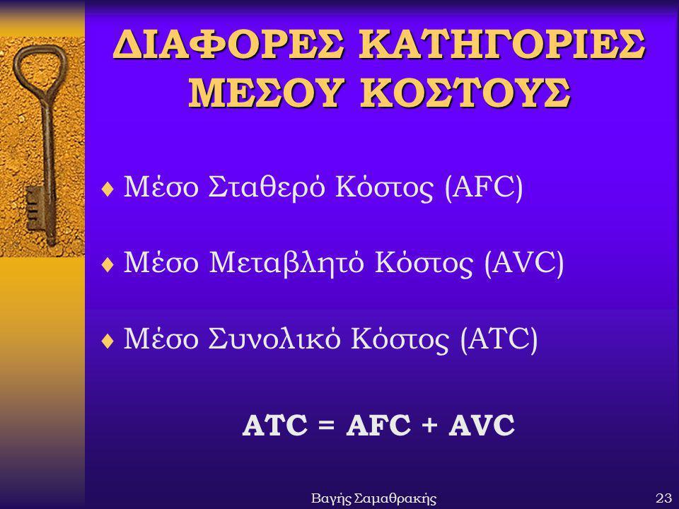 Βαγής Σαμαθρακής23 ΔΙΑΦΟΡΕΣ ΚΑΤΗΓΟΡΙΕΣ ΜΕΣΟΥ ΚΟΣΤΟΥΣ  Μέσο Σταθερό Κόστος (AFC)  Μέσο Μεταβλητό Κόστος (AVC)  Μέσο Συνολικό Κόστος (ATC) ATC = AFC