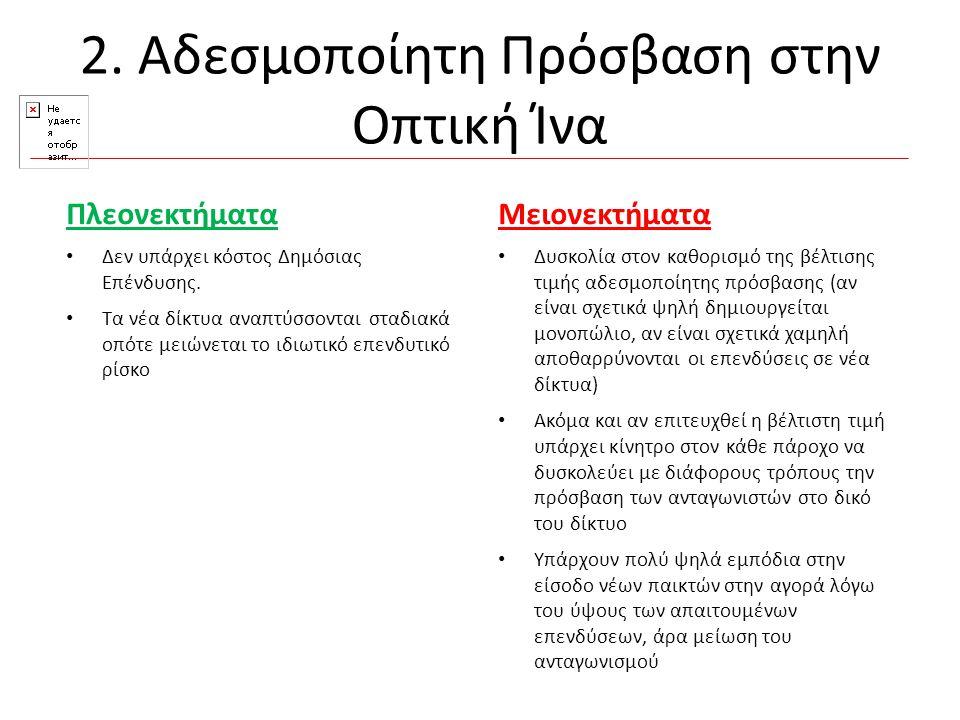 2. Αδεσμοποίητη Πρόσβαση στην Οπτική Ίνα Μειονεκτήματα Δυσκολία στον καθορισμό της βέλτισης τιμής αδεσμοποίητης πρόσβασης (αν είναι σχετικά ψηλή δημιο