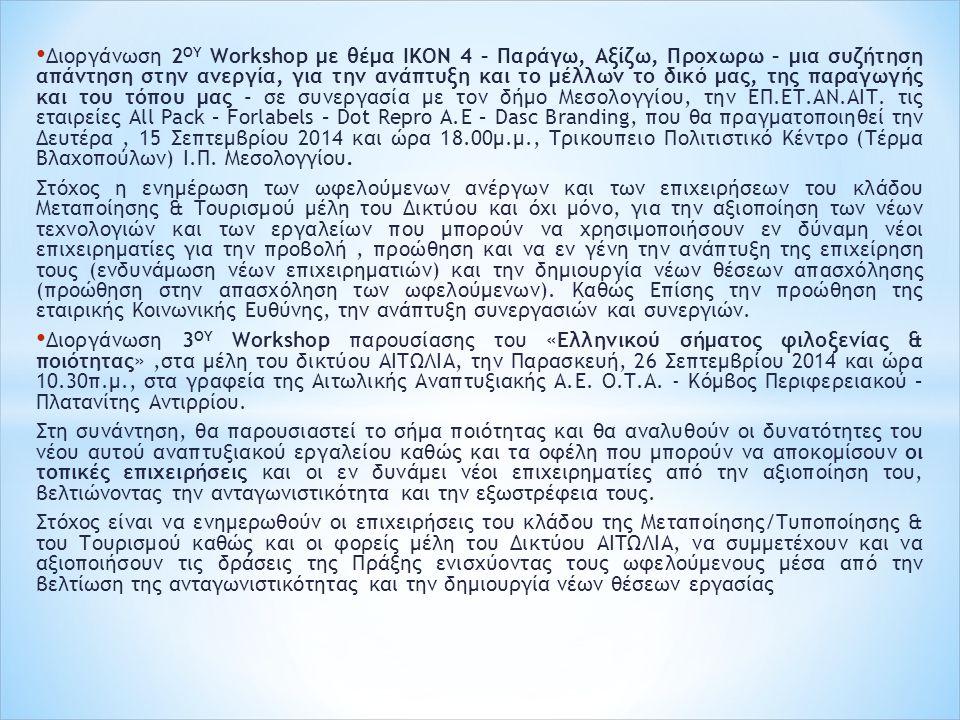 Διοργάνωση 2 ΟΥ Workshop με θέμα IKON 4 – Παράγω, Αξίζω, Προχωρω – μια συζήτηση απάντηση στην ανεργία, για την ανάπτυξη και το μέλλων το δικό μας, της παραγωγής και του τόπου μας - σε συνεργασία με τον δήμο Μεσολογγίου, την ΕΠ.ΕΤ.ΑΝ.ΑΙΤ.