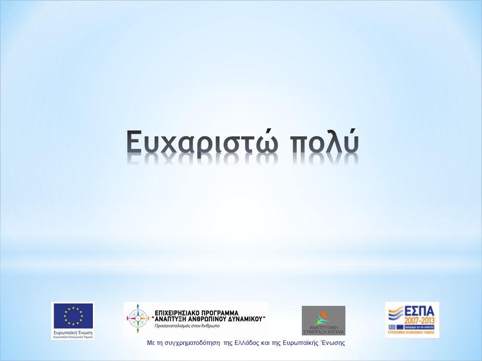 Με τη συγχρηματοδότηση της Ελλάδας και της Ευρωπαϊκής Ένωσης