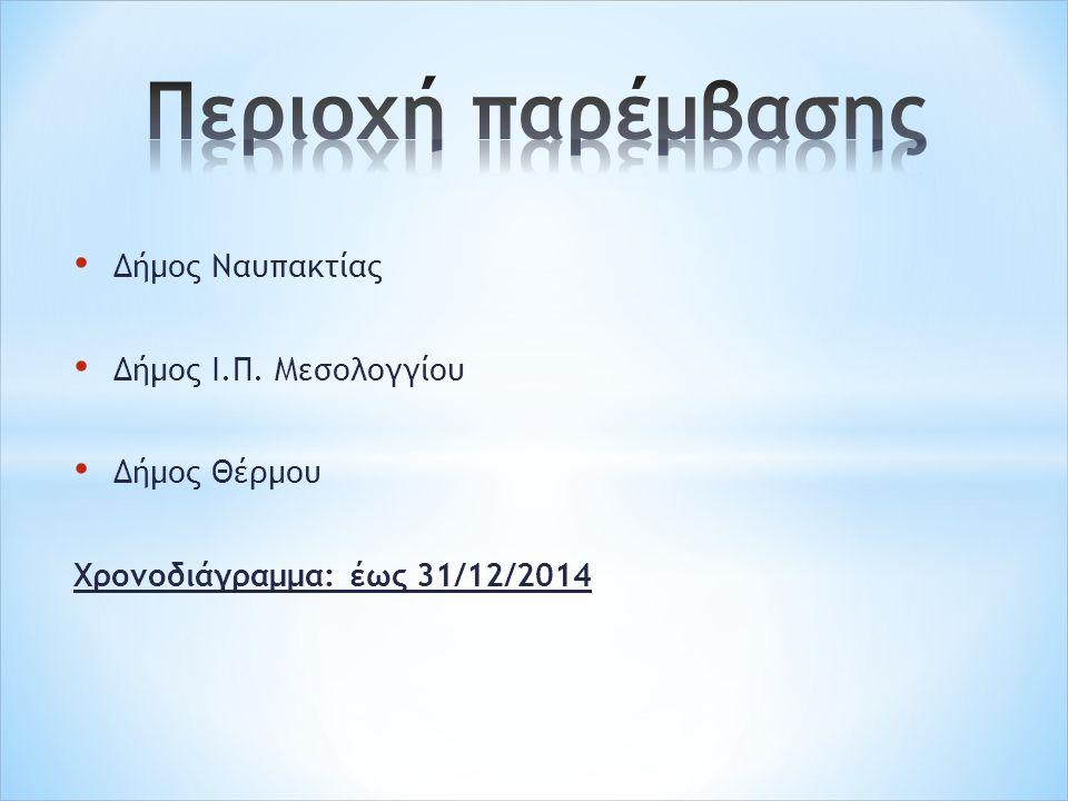 Δήμος Ναυπακτίας Δήμος Ι.Π. Μεσολογγίου Δήμος Θέρμου Χρονοδιάγραμμα: έως 31/12/2014