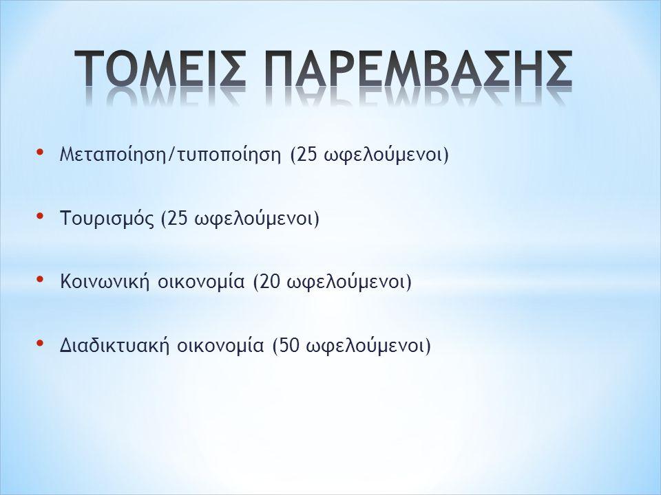 Μεταποίηση/τυποποίηση (25 ωφελούμενοι) Τουρισμός (25 ωφελούμενοι) Κοινωνική οικονομία (20 ωφελούμενοι) Διαδικτυακή οικονομία (50 ωφελούμενοι)