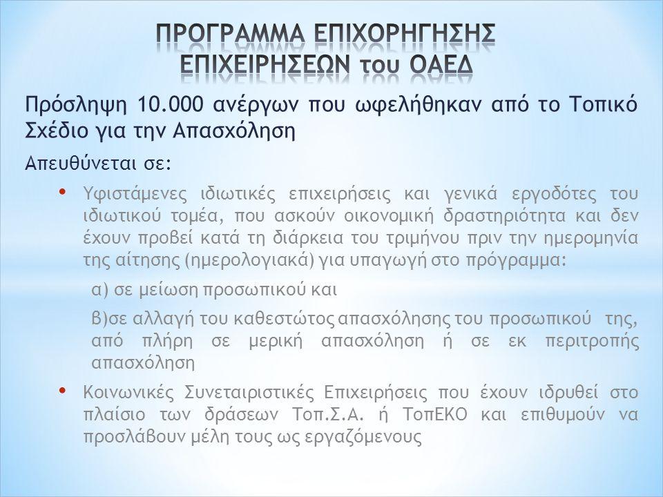 Πρόσληψη 10.000 ανέργων που ωφελήθηκαν από το Τοπικό Σχέδιο για την Απασχόληση Απευθύνεται σε: Υφιστάμενες ιδιωτικές επιχειρήσεις και γενικά εργοδότες του ιδιωτικού τομέα, που ασκούν οικονομική δραστηριότητα και δεν έχουν προβεί κατά τη διάρκεια του τριμήνου πριν την ημερομηνία της αίτησης (ημερολογιακά) για υπαγωγή στο πρόγραμμα: α) σε μείωση προσωπικού και β)σε αλλαγή του καθεστώτος απασχόλησης του προσωπικού της, από πλήρη σε μερική απασχόληση ή σε εκ περιτροπής απασχόληση Κοινωνικές Συνεταιριστικές Επιχειρήσεις που έχουν ιδρυθεί στο πλαίσιο των δράσεων Τοπ.Σ.Α.