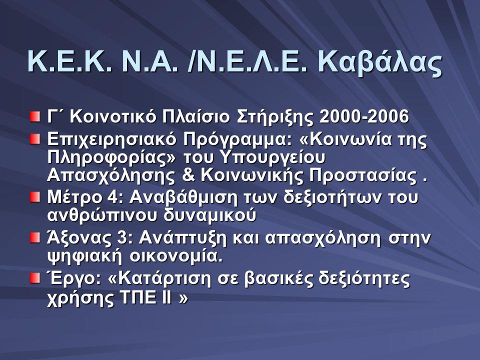 Κ.Ε.Κ. Ν.Α. /Ν.Ε.Λ.Ε. Καβάλας Γ΄ Κοινοτικό Πλαίσιο Στήριξης 2000-2006 Επιχειρησιακό Πρόγραμμα: «Κοινωνία της Πληροφορίας» του Υπουργείου Απασχόλησης &
